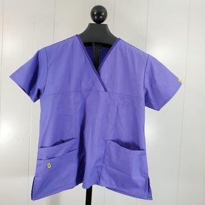 WonderWink Womens Purple Scrub Top Large